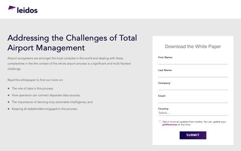 Screenshot of Landing Page leidos.com - White Paper: Addressing the Challenges of Total Airport Management | Leidos - captured Jan. 29, 2019
