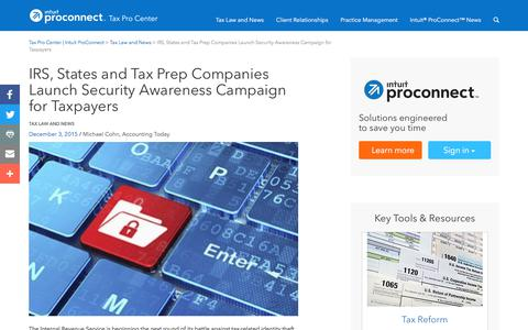 Screenshot of Press Page intuit.com - IRS, States and Tax Prep Companies Launch Security Awareness Campaign for Taxpayers | Tax Pro Center | Intuit ProConnect - captured Nov. 21, 2019