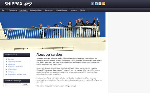Screenshot of Services Page shippax.se - Shippax - About our services, Shipping publications consulting consultation statistics - captured Oct. 9, 2014