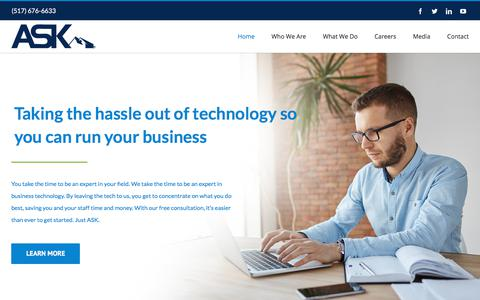 Screenshot of Home Page justask.net - Home - Ask - captured Aug. 16, 2019