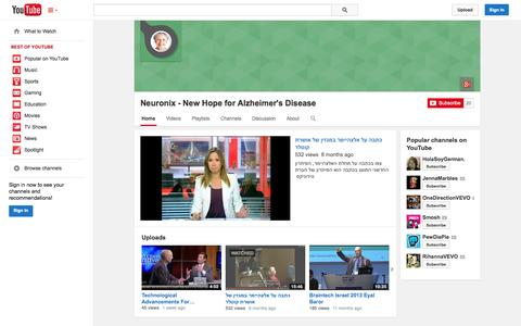 Screenshot of YouTube Page youtube.com - Neuronix - New Hope for Alzheimer's Disease  - YouTube - captured Oct. 22, 2014
