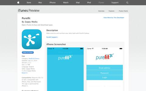 Screenshot of iOS App Page apple.com - Purefit on the App Store on iTunes - captured Oct. 22, 2014