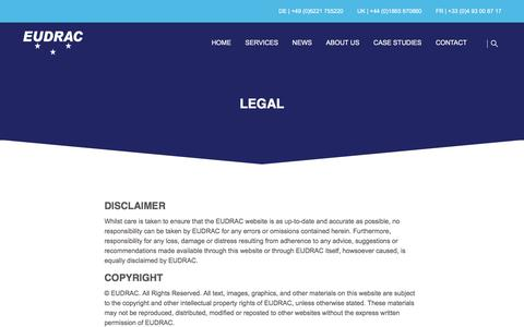 Screenshot of Terms Page eudrac.com - EUDRAC | Legal - captured July 15, 2018