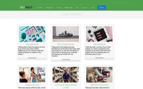Screenshot of Case Studies Page skuvault.com - SkuVault Warehouse Management System · Case Studies - captured Feb. 19, 2018