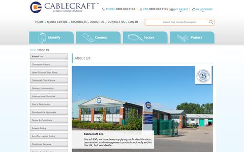 Screenshot of About Page cablecraft.co.uk - About Us - Cablecraft - captured Sept. 26, 2018