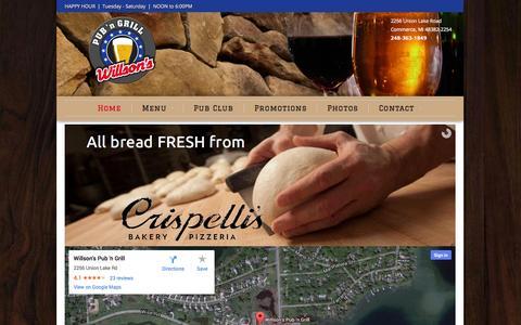 Screenshot of Home Page willsonspub.com - Willson's Pub 'n Grill - Good Times, Great Food, Big Drinks - captured Oct. 6, 2014