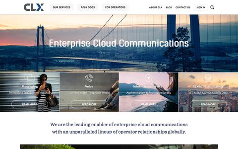 Screenshot of Home Page clxnetworks.com - CLX | Enterprise Cloud Communications - captured Dec. 5, 2015