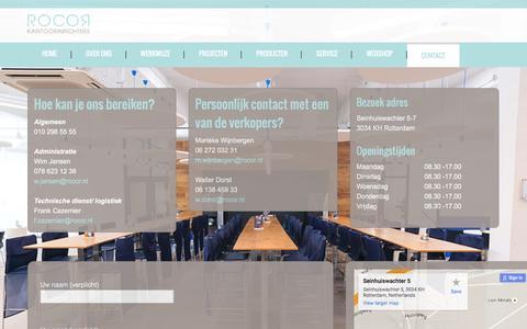Screenshot of Contact Page rocor.nl - Kantoorinrichting - contact - captured Feb. 9, 2016