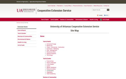 Screenshot of Site Map Page uaex.edu - Site Map - captured Sept. 19, 2014