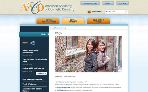 Screenshot of FAQ Page aacd.com - FAQ's   American Academy of Cosmetic Dentistry - captured Sept. 19, 2014