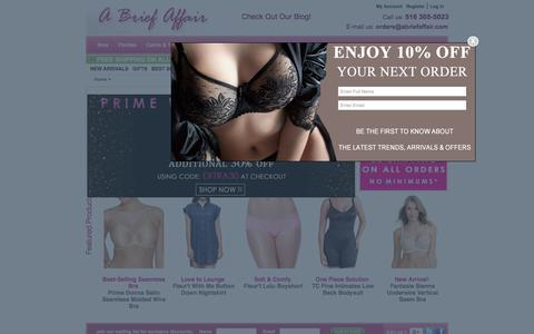 Screenshot of Home Page abriefaffair.com - Shop Women's Bras, Lingerie, Panties,  Sleepwear, Shapewear, Slips and Loungewear - captured July 15, 2018