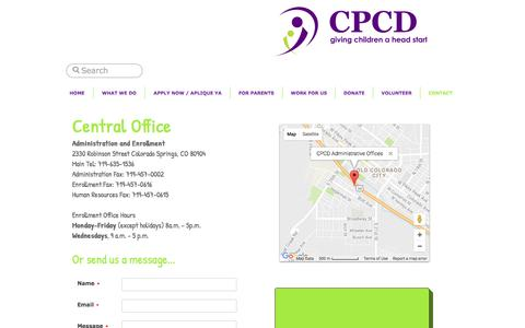 Screenshot of Contact Page cpcdheadstart.org - CPCD contact - captured Oct. 9, 2016