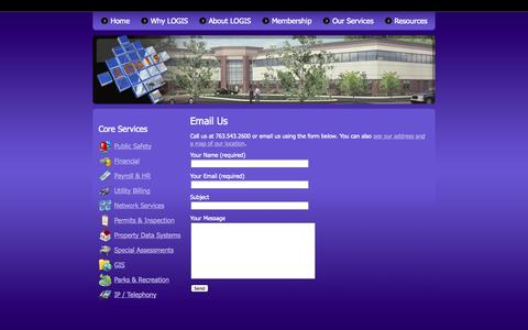 Screenshot of Contact Page logis.org - Email Us | LOGIS - captured Sept. 26, 2014