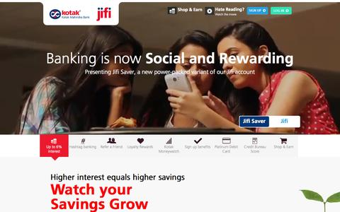 Screenshot of Home Page kotakjifi.com - Banking Made Easy & Hassle free With The Jifi Account by Kotak Mahindra Bank - captured Jan. 21, 2015
