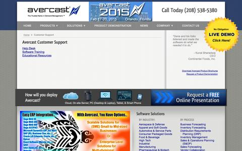Screenshot of Support Page avercast.com - Customer Support - Avercast Inventory & Supply Planning - captured Oct. 4, 2014