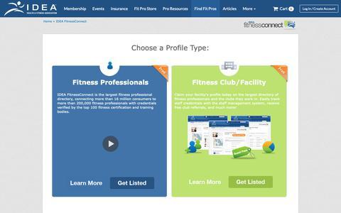Screenshot of Signup Page ideafit.com - IDEA FitnessConnect Signup - captured Nov. 12, 2018