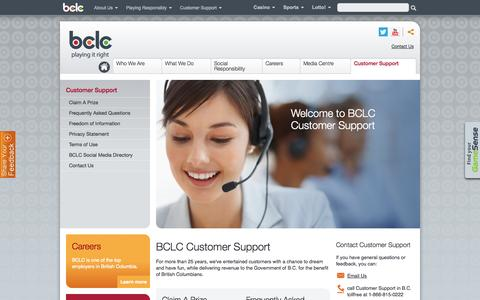Screenshot of Support Page bclc.com - Customer Support - captured Sept. 23, 2014
