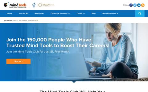 Screenshot of Signup Page mindtools.com - Join The Mindtools Club - Mindtools Offers - captured May 17, 2018