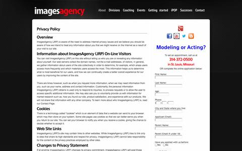 Screenshot of Privacy Page imagesagency.com - Since 1988, Images Agency of St. Louis has helped place local models and talent at casting calls. - captured Sept. 30, 2014