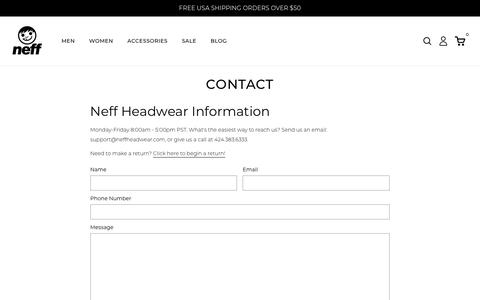 Screenshot of Contact Page neffheadwear.com - Contact                      | Neff Headwear - captured Aug. 2, 2019