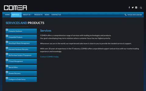 Screenshot of Services Page comea.com - Services - Comea - captured Aug. 17, 2017