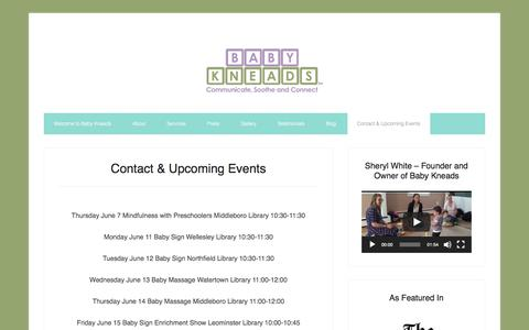 Screenshot of Contact Page babykneads.com - Contact & Upcoming Events - captured Aug. 1, 2018