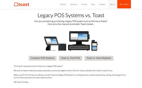 Screenshot of toasttab.com - Legacy POS Systems vs Toast — POS Comparison - captured July 19, 2016