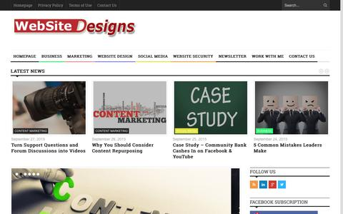 Screenshot of Home Page website-designs.com - Website Designs - Content Marketing - Social Media and Online Marketing - captured Oct. 2, 2015