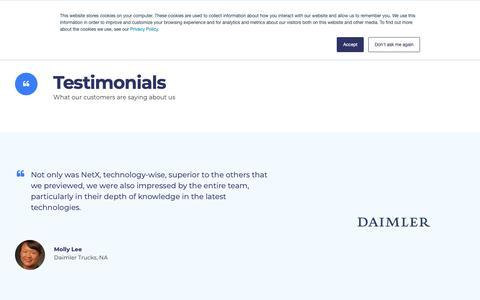 Screenshot of Testimonials Page netx.net - Testimonials - Digital Asset Management Software | NetX - captured Oct. 18, 2018