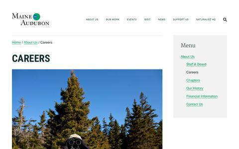 Screenshot of Jobs Page maineaudubon.org - Careers   Maine Audubon - captured July 27, 2018