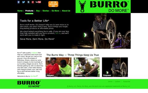 Screenshot of Home Page burrobrand.biz - BURRO - captured Sept. 2, 2015