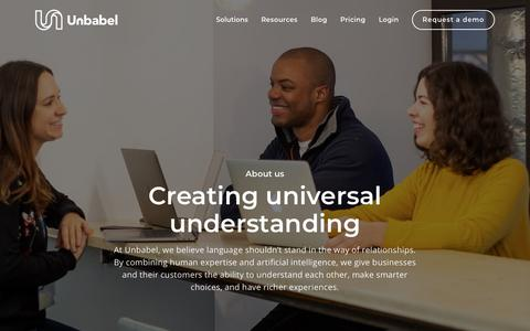 Screenshot of About Page unbabel.com - About Unbabel | Creating Universal Understanding - captured Feb. 5, 2019