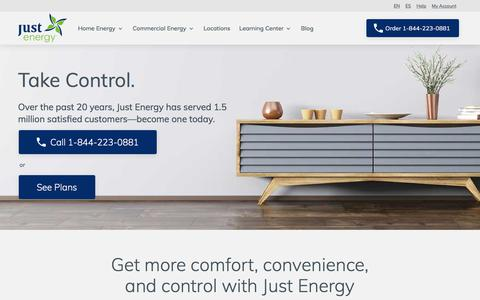 Screenshot of Home Page justenergy.com - Electric Company & Gas Supplier | 833-255-2752 | Just Energy - captured Sept. 17, 2019