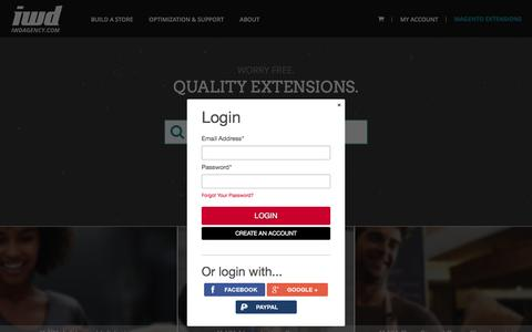Screenshot of Login Page iwdagency.com - Magento Extensions, Addons & Modules | IWD Extensions - captured July 21, 2016