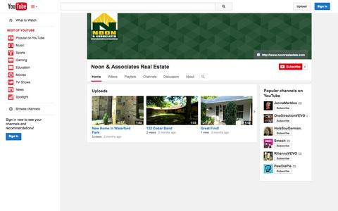 Screenshot of YouTube Page youtube.com - Noon & Associates Real Estate  - YouTube - captured Oct. 26, 2014