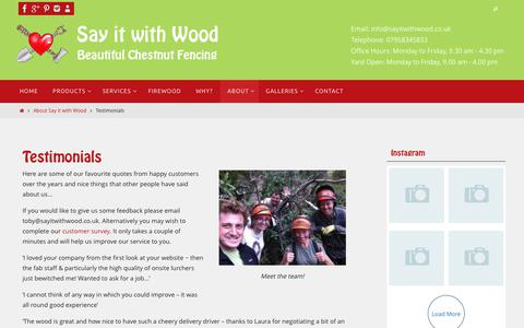 Screenshot of Testimonials Page sayitwithwood.co.uk - Testimonials - Say it with Wood - captured Dec. 8, 2018