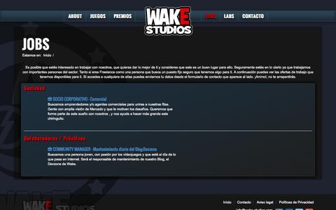 Screenshot of Jobs Page wake-studios.com - Trabajo Videojuegos Unity, bolsa de trabajo Barcelona - captured Nov. 5, 2014