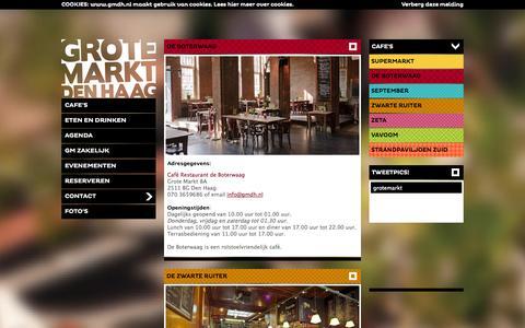 Screenshot of Contact Page gmdh.nl - Grote Markt Den Haag - Het gezelligste plein van Nederland met de September, Vavoom, de Zwarte Ruiter, de Boterwaag, de Zéta en de Supermarkt! #GMDH - captured Oct. 3, 2014