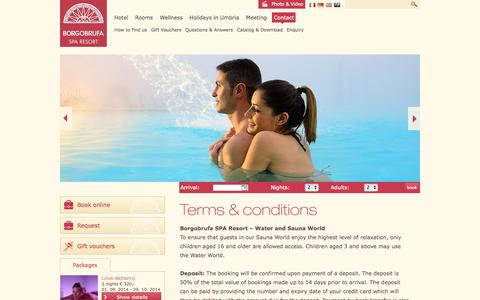 Screenshot of Terms Page borgobrufa.it - Ts & Cs - Contact - Borgo Brufa SPA RESORT - captured Oct. 5, 2014