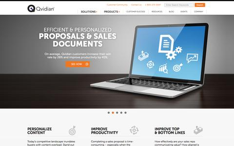 Screenshot of Home Page qvidian.com - Sales Execution Software, RFP & Proposal Software - Win More | Qvidian - captured Nov. 3, 2015