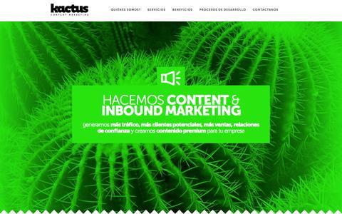 Screenshot of Home Page kactus.com.ar - Kactus Content Marketing - captured Oct. 6, 2014