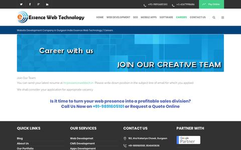 Screenshot of Jobs Page essencewebtech.in - Contact Web Designing Company in Gurgaon - captured Oct. 23, 2018