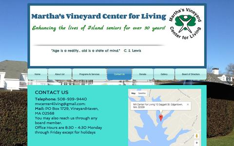 Screenshot of Contact Page mvcenter4living.org - Martha's Vineyard Center For Living | Contact Us - captured Oct. 17, 2017