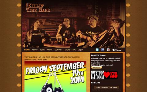 Screenshot of Home Page Press Page killintimeband.com - NEWS - The Killin Time Band - captured Oct. 6, 2014
