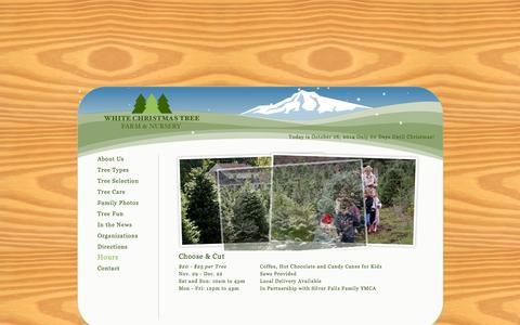 Screenshot of Hours Page whitechristmastreefarm.com - White Christmas Tree Farm & Nursery - Silverton, Oregon - captured Oct. 26, 2014