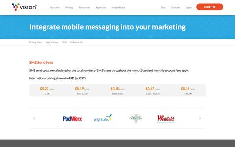 Screenshot of Pricing Page vision6.com.au - SMS Pricing | SMS and Mobile Marketing | Vision6 - captured Oct. 31, 2016