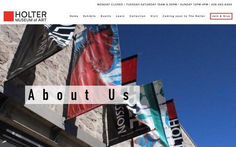 Screenshot of About Page holtermuseum.org - About — Holter Museum - captured Sept. 29, 2018