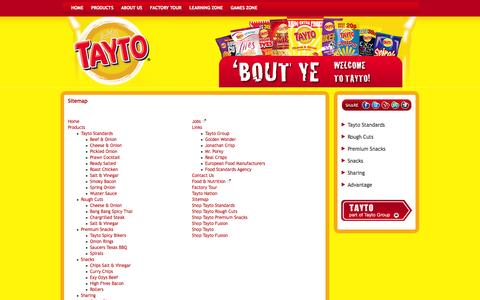 Screenshot of Site Map Page tayto.com - Sitemap - captured Oct. 7, 2014