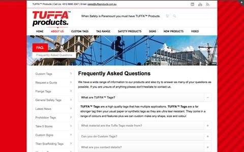 Screenshot of FAQ Page tuffaproducts.com.au - Frequently Asked Questions - captured Sept. 30, 2014