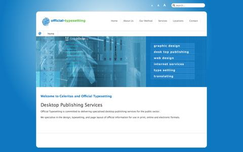 Screenshot of Home Page official-typesetting.co.uk - Design, typesetting, and page layout of official information. - captured Oct. 2, 2014